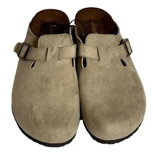 Whitemt. Brylee Suede Clogs Slippers Beige shoes